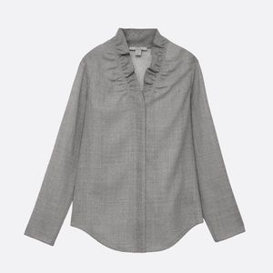 COS Frill-neck Wool Blouse Grey M / 10